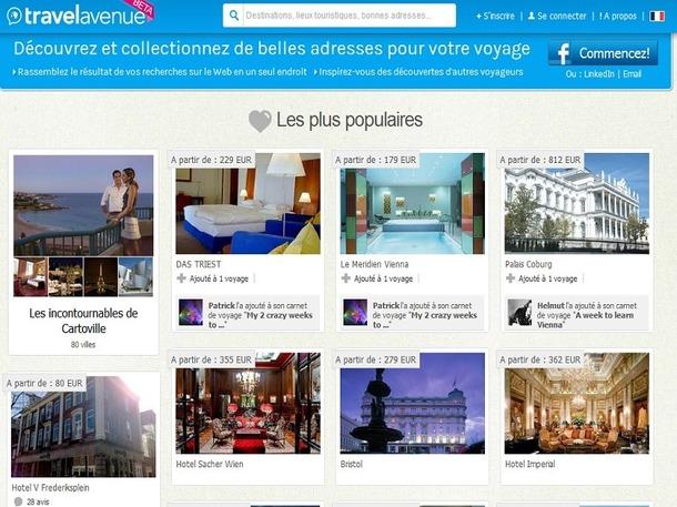 Sur TravelAvenue, les utilisateurs créent un carnet de voyage sur lequel ils ajoutent les informations recueillis sur Internet à propos du séjour qu'ils préparent - Capture d'écran