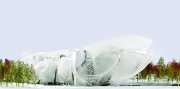 Fondation Louis Vuitton. Le bâtiment, qui abritera des œuvres de la collection de Bernard Arnault prendra place au Bois de Boulogne, à Paris. Ouverture prévue en 2014, architecte Frank Gehry. - DR