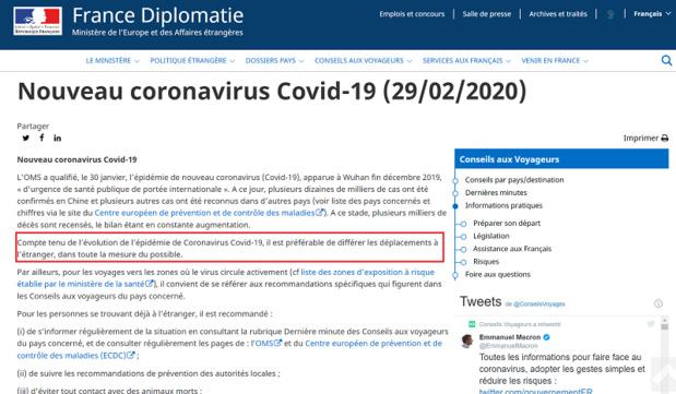 """COVID-19 : """"il est préférable de différer les déplacements à l'étranger"""", selon le Quai d'Orsay"""