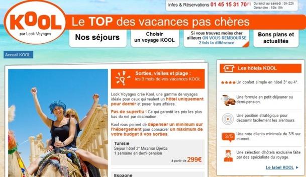 Look Voyages rénove le site Internet dédié à son label KOOL - Capture d'écran