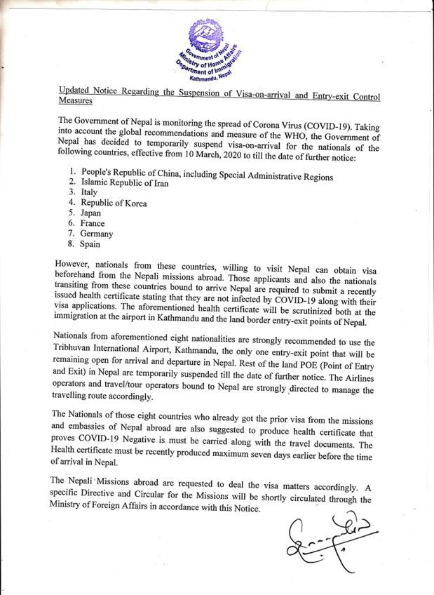Note du Ministère de l'Intérieur - Département de l'Immigration du Népal