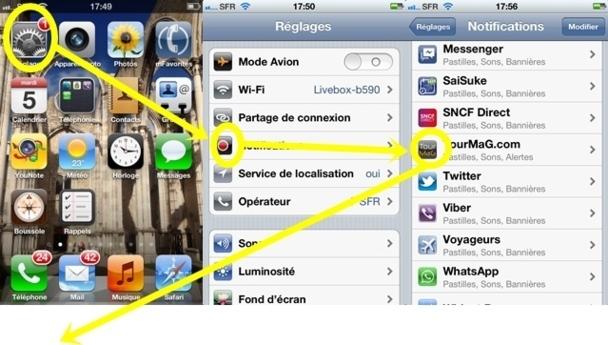 """Dans la page d'accueil sélectionnez """"Reglages"""". Dans l'écran suivant, cliquez sur """"Notifications"""" > TourMaG.com >"""