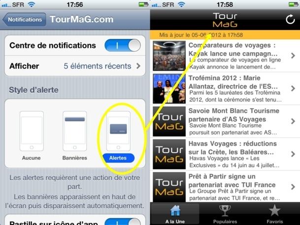 """> Une fois dans la page """"Notifications"""", cochez Centre de Notifications puis dans """"Style d'alerte"""", cochez """"Alertes"""" et le tour est joué !"""