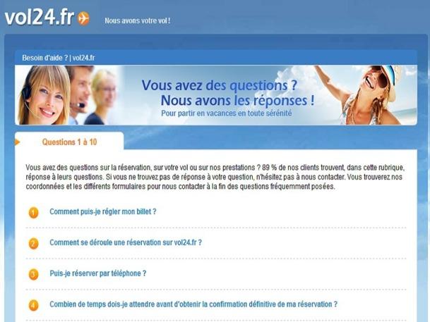 """Le site de Vol24.fr dispose d'une section """"Besoin d'aide ?"""". Un intitulé ironique ? - Capture d'écran"""