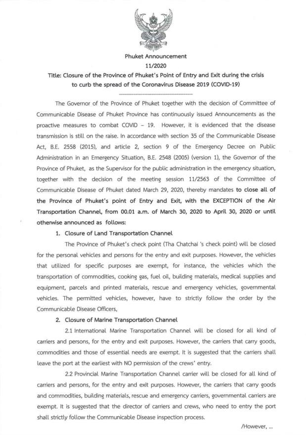 Lettre du gouverneur annonçant la fermeture de Phuket - DR