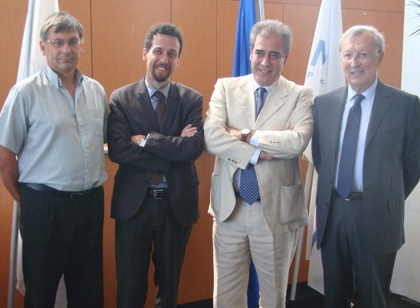 Christophe Piloix directeur des opérations du GPMM, Erminio ESCHENA, porte-parole Cruise Lines International Association - European Cruise Council, Giacomo Costa ARDISSONE, Président du MPCT, et Roland BLUM, 1er adjoint au Maire en charge des relations avec le GPMM - Photo DR