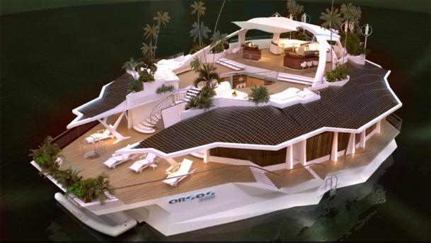 """Pour 5,2 millions d'euros, les millionnaires peuvent acquérir  l'""""Orsos Island"""", mesurant 20 m sur 37 m, pour une surface habitable totale de 1000 m2. - DR : orsosisland.com"""