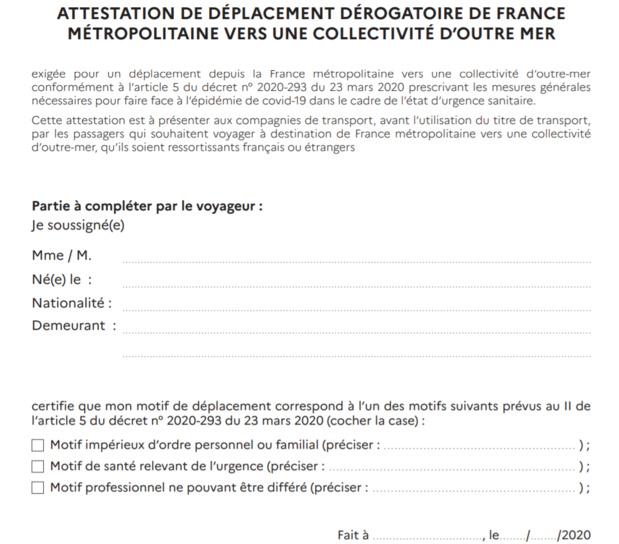 Etranger, DOM-TOM : une attestation exigée pour entrer sur le territoire français