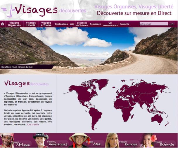 La Home page du site Internet de Visages Découvertes invite les voyageurs à choisir leur destination - Photo DR