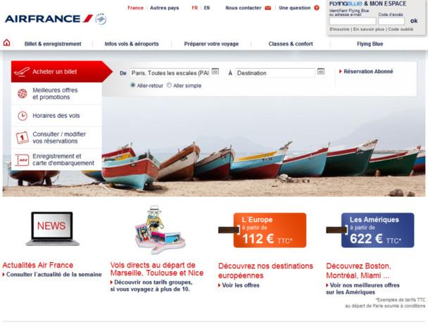 La nouvelle Home page du site AirFrance.fr n'a rien à voir avec le bug qui s'est produit lundi. Photo DR