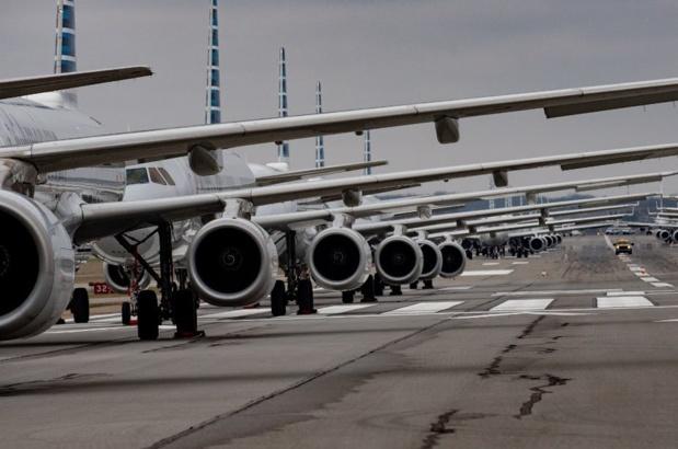 La pandémie du Covid-19 est à l'origine d'une chute historique du trafic aérien. Jeff Swensen / Getty Images via AFP