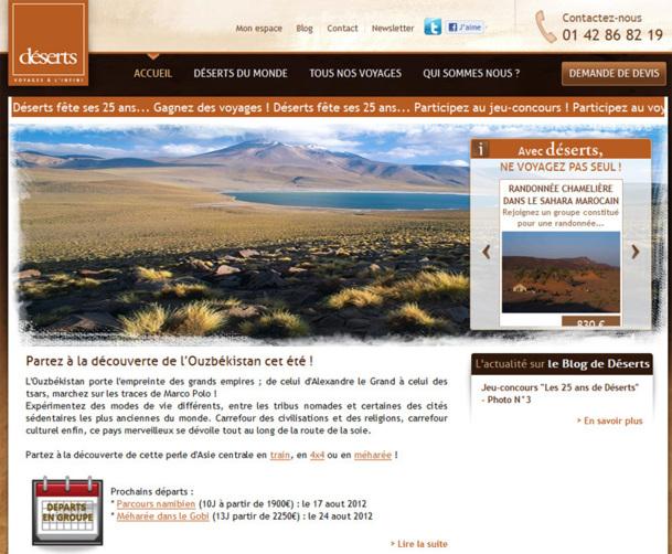 Le site Internet de Déserts - Photo DR