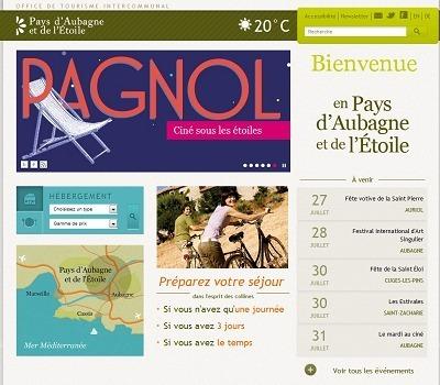 Le nouveau site de l'office de tourisme du Pays d'Aubagne et de l'Etoile est en ligne depuis le 27 juillet 2012 - Capture d'écran