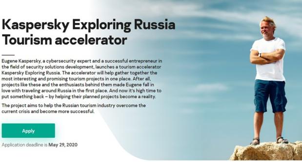 """L'opération baptisée """"Kaspersky Exploring Russia"""" est ouverte à toutes les start-up du monde - Capture écran site  Kaspersky Exploring Russia"""