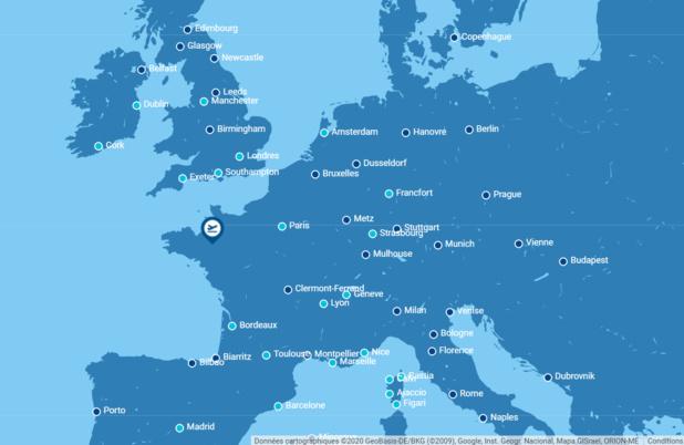 Les destinations desservies au départ de'aéroport Rennes Bretagne