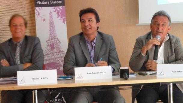 De gauche à droite Thierry Le Roy, président de l'Office du Tourisme et des Congrès de Paris, Jean-Bernard Bros Adjoint au Maire de Paris chargé du tourisme et président délégué de l'Office du Tourisme et des Congrès de Paris et Paul Roll, le directeur général - DR : M.SANI