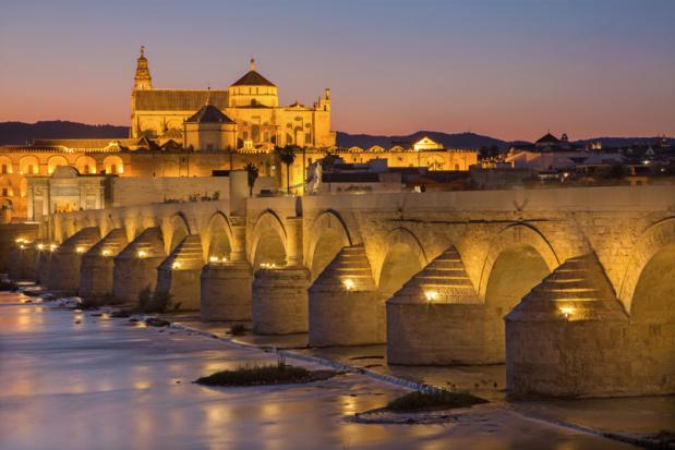 Cordoba - le pont romain et la cathédrale en arrière-plan au crépuscule /crédit DepositPhoto