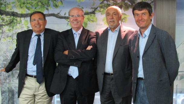 Réunis à la Maison de la Région à Marseille, de g. à dr : Jean-Pierre Serra, pdt du CDT du Var, Alain Gumiel, pdt du CRT Riviera Côte d'Azur, Michel Fuillet, pdt ADT Vaucluse et Pierre Meffre, président du CRT Paca - DR : A.B.