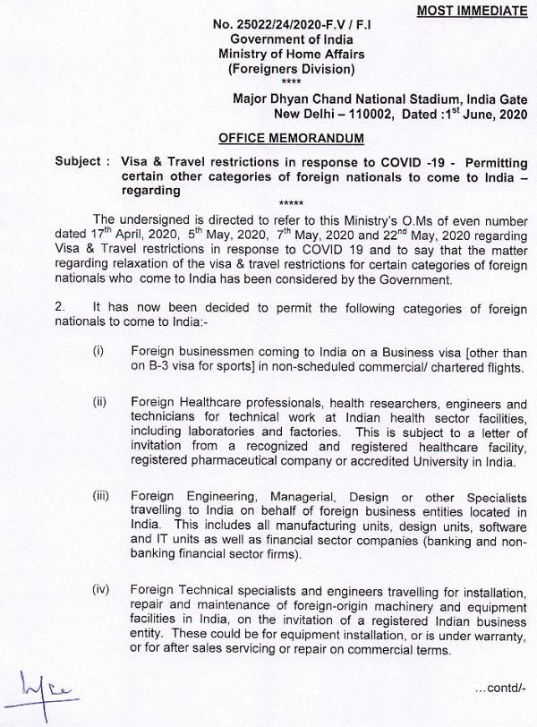 Inde: assouplissement des restrictions visas