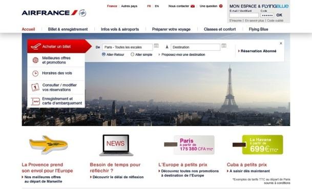 La nouvelle page d'accueil du site grand public d'Air France fait la part belle aux visuels - DR