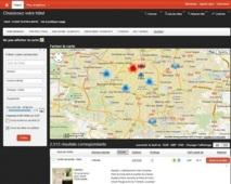 Page de résultats avec Carte interactive - DR : BTravel