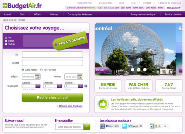 BudgetAir.fr a lancé une nouvelle version de son site web - Photo DR