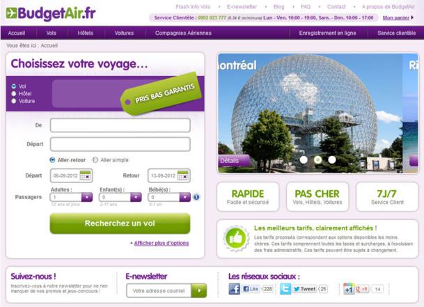 BudgetAir.fr a lancé une nouvelle version de son site web - Photo DR