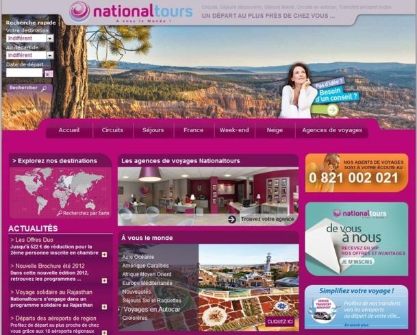 Grâce à son site Internet, National Tours parvient à recruter de nombreux clients - Capture d'écran