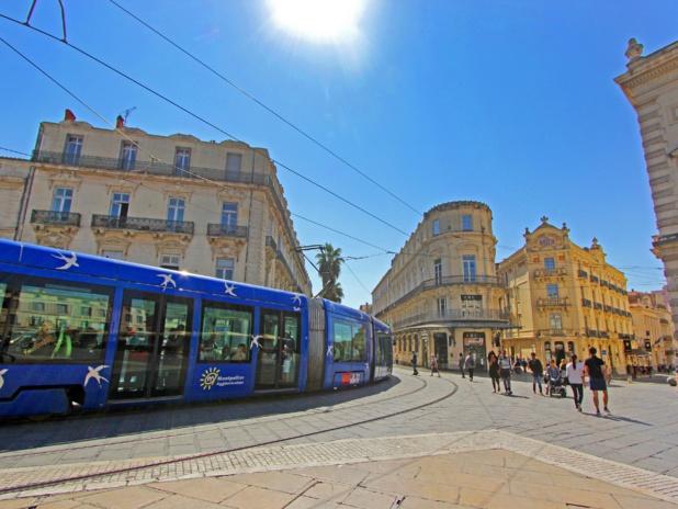 Les fameux tramways de  Montpellier, de véritables oeuvres d'art roulantes. C. Deschamps. CRT Occitanie.