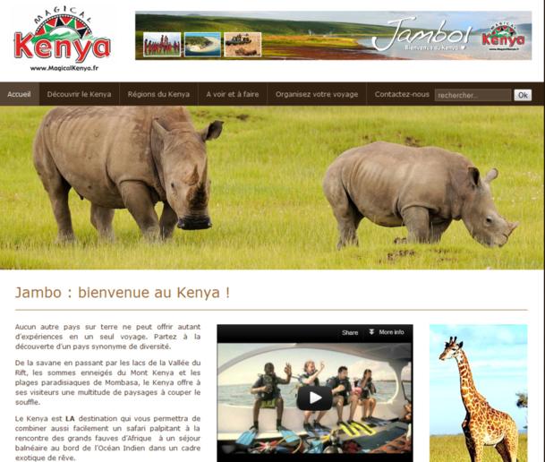 Le site Internet grand public Magicalkenya.fr vient de s'enrichir de deux nouvelles rubriques, l'une à l'attention des journalistes, et l'autre dédiée aux professionnels du tourisme. - Capture d'écran