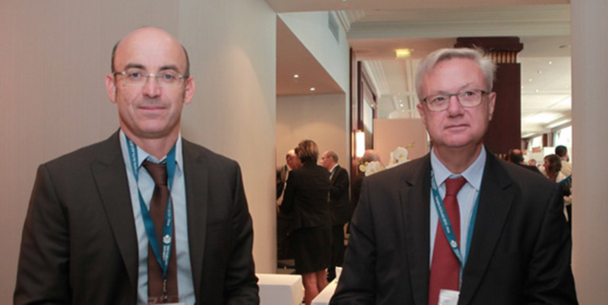 A gauche, Thomas  Juin, président  de l'Alfa-Aci et à droite, Hervé de place, président du directoire de la société des aéroports de la Côte d'Azur - DR : M.B.