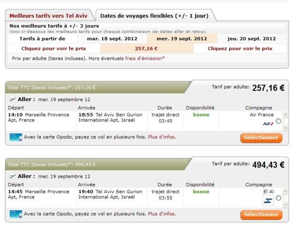 Nous avons effectuée une recherche de tarifs comparatifs (AF vs El Al) vendredi pour cette semaine prochaine et il n'y a pas photo mais... copie d'écran ci-dessus !