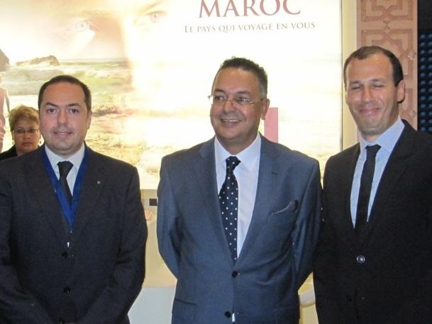 Hamid Haddou (à gauche) et Lahcen Haddad (au centre), respectivement Directeur de l'ONMT et ministre marocain du tourisme, veulent faire de 2013 une année cruciale pour le tourisme au Maroc - Photo P.C