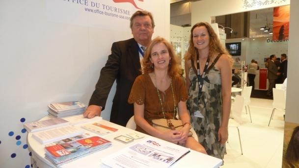 Michel-Yves Labbé président de l'Office du Tourisme USA, Valérie Ferrière responsable du secteur tourisme à l'Ambassade des Etats-Unis à Paris et Delphine Aubert chargée de promotion - Photo M.S