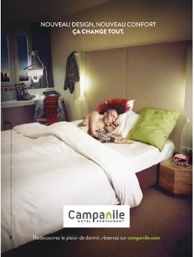 Un des visuels de la nouvelle campagne de publicité de Campanile - Agence : PONK – Franck Pralong. Photographe : Ilario_Magali