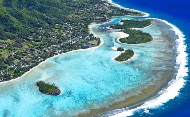 Vue aérienne du lagon Muri dans les îles Cook. DR