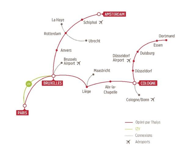 Les trajets effectués par Thalys - DR