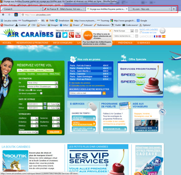 Comparatif : XL Airways, moins chère que ses concurrentes sur les Antilles... à 4 reprises !