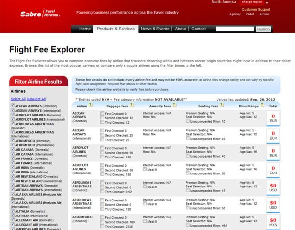 La solution Flight Fee Explorer affiche donc actuellement les frais additionnels des compagnies de façon à ce que les agents de voyages puissent les  intégrer dans le calcul général du prix du billet d'avion sans pouvoir les réserver.  / Photo Capture écran