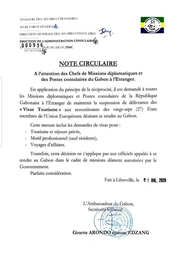 Gabon: les européens interdits de visas tourisme