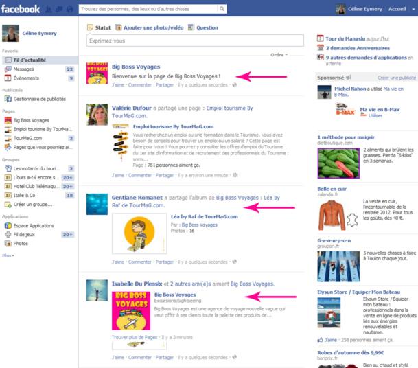 Toutes les activités de la page apparaissent dans le fil actu des fans, c'est par ce biais qu'ils restent informés. (Cliquez sur l'image pour l'agrandir)