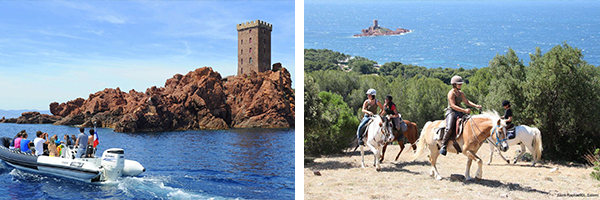 Excursion en mer autour de l'Île d'Or. Copyright : « TakSea » / Balade à cheval dans le Massif de l'Estérel. Copyright : Ville de Saint-Raphaël, L. SALEMI