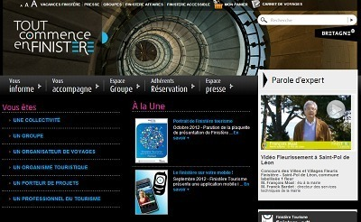 """Finistère Tourisme a annoncé la parution de son guide """"Finistère Spécial Groupes"""" lundi 8 octobre 2012 - Capture d'écran"""