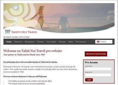 Le nouveau site professionnel de Tahiti Nui Travel a pour objectif d'aider les tour opérateurs à programmer et vendre la destination Polynésie - Capture d'écran