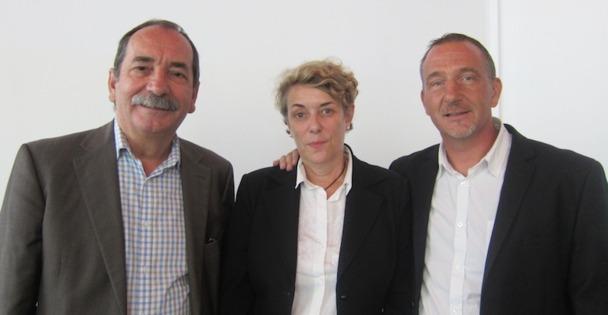 Jean-Paul Giraud, le DG sortant, Claire Vidaud, directrice de la communication et Olivier Baumont, le nouveau directeur général de VTF.DR