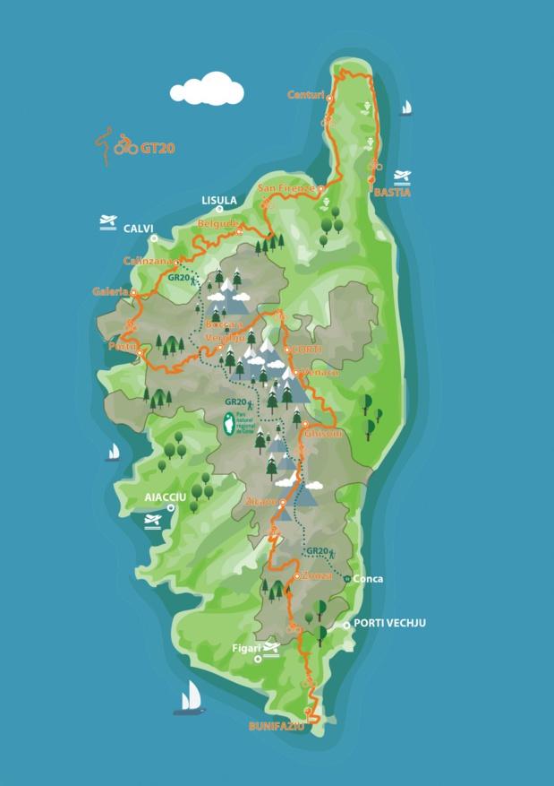 Le nouvel itinéraire cyclo-touristique traverse la Corse du nord au sud