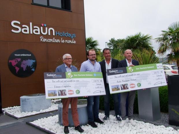 Salaün Holidays a remis, mercredi 8 juillet 2020, deux chèques d'un montant total de 7740 € à deux associations bretonnes - DR