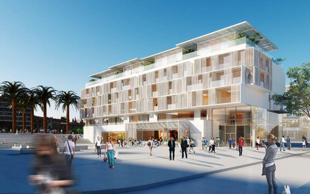 L'hôtel, avec ses larges balcons en béton blanc et de vastes terrasses sur le toit, va sortir de terre dans le nouveau quartier du Beal - DR