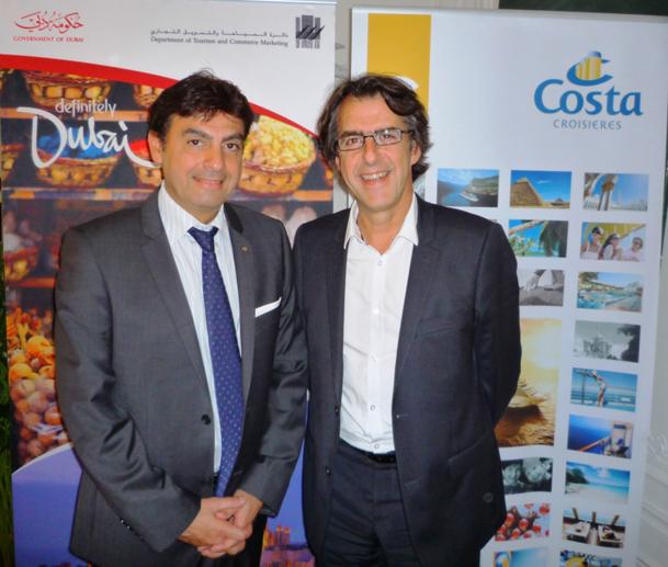 Georges Azouze, le Pdg de Costa Croisières France et Pascal Maigniez Directeur de l'OT de Dubai / photo DR