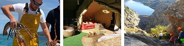 ©CorsicaEvents - Rencontre pêcheur de langouste / ©CorsicaEvents - Tente Lodge aux Aiguilles de Bavella / ©CorsicaEvents - Via Ferrata